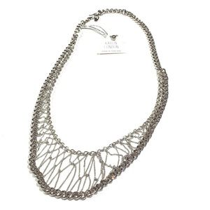 Karen London Silver Chain Linked Webbed Necklace